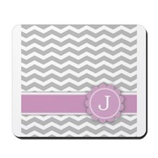 Letter J Pink Monogram Grey Chevron Mousepad