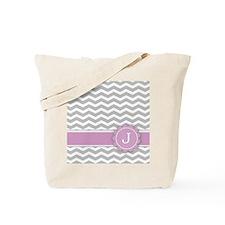 Letter J Pink Monogram Grey Chevron Tote Bag