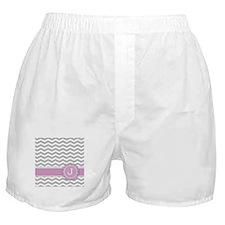 Letter J Pink Monogram Grey Chevron Boxer Shorts