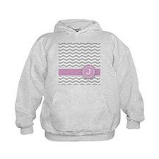 Letter J Pink Monogram Grey Chevron Hoody
