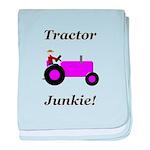 Purple Tractor Junkie baby blanket