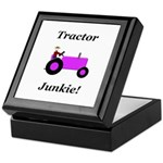 Purple Tractor Junkie Keepsake Box
