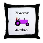 Purple Tractor Junkie Throw Pillow