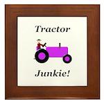 Purple Tractor Junkie Framed Tile