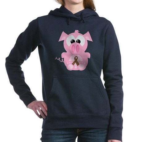 brown ribbon piggy.png Hooded Sweatshirt