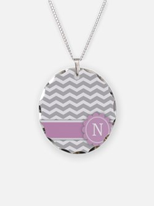 Letter N Pink Monogram Grey Chevron Necklace
