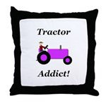 Purple Tractor Addict Throw Pillow
