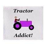 Purple Tractor Addict Throw Blanket
