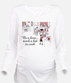 FIN-teach-kid-cook.png Long Sleeve Maternity T-Shi