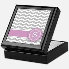 Letter S Pink Monogram Grey Chevron Keepsake Box