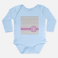 Letter Y Pink Monogram Grey Chevron Body Suit