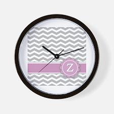 Letter Z Pink Monogram Grey Chevron Wall Clock