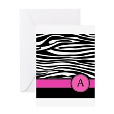 Pink Letter A Zebra stripe Greeting Cards
