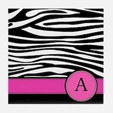 Pink Letter A Zebra stripe Tile Coaster