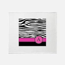 Pink Letter A Zebra stripe Throw Blanket