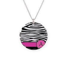 Pink Letter A Zebra stripe Necklace