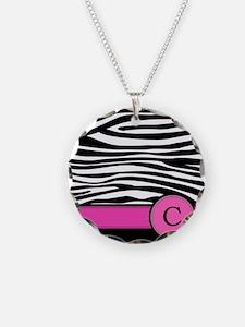 Pink Letter C Zebra stripe Necklace