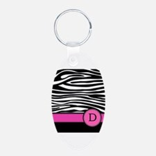 Pink Letter D Zebra stripe Keychains