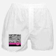 Pink Letter D Zebra stripe Boxer Shorts