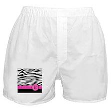 Pink Letter E Zebra stripe Boxer Shorts