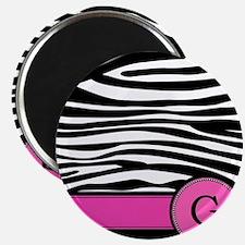 Pink Letter G Zebra stripe Magnets