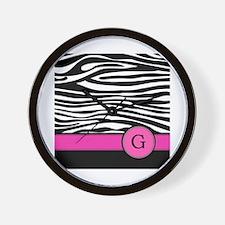 Pink Letter G Zebra stripe Wall Clock