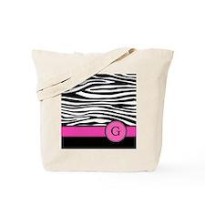 Pink Letter G Zebra stripe Tote Bag
