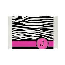 Pink Letter J Zebra stripe Magnets