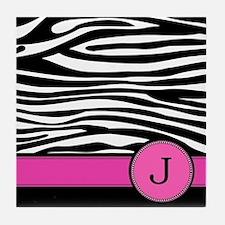 Pink Letter J Zebra stripe Tile Coaster