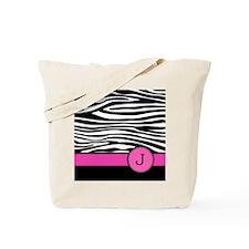 Pink Letter J Zebra stripe Tote Bag