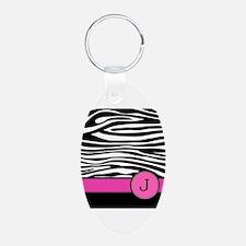 Pink Letter J Zebra stripe Keychains