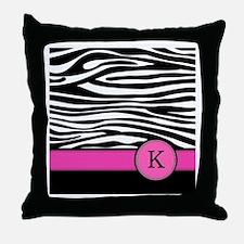 Pink Letter K Zebra stripe Throw Pillow