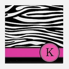 Pink Letter K Zebra stripe Tile Coaster