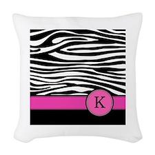 Pink Letter K Zebra stripe Woven Throw Pillow