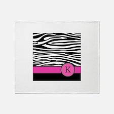 Pink Letter K Zebra stripe Throw Blanket