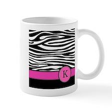 Pink Letter K Zebra stripe Mugs