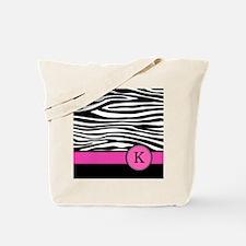 Pink Letter K Zebra stripe Tote Bag