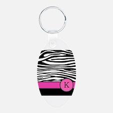 Pink Letter K Zebra stripe Keychains