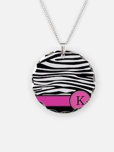 Pink Letter K Zebra stripe Necklace