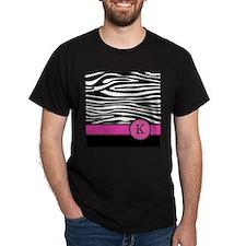 Pink Letter K Zebra stripe T-Shirt
