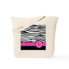 Pink Letter L Zebra stripe Tote Bag