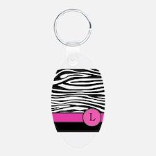 Pink Letter L Zebra stripe Keychains