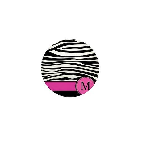 Pink Letter M Zebra stripe Mini Button