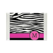 Pink Letter M Zebra stripe Magnets