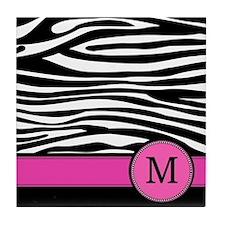 Pink Letter M Zebra stripe Tile Coaster