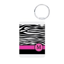 Pink Letter M Zebra stripe Keychains