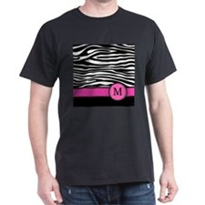 Pink Letter M Zebra stripe T-Shirt