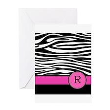 Pink Letter R Zebra stripe Greeting Cards