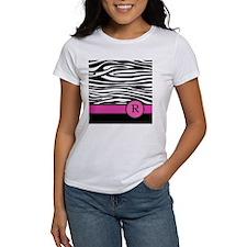 Pink Letter R Zebra stripe T-Shirt