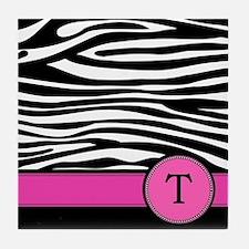 Pink Letter T Zebra stripe Tile Coaster